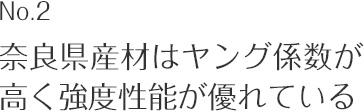 奈良県産材はヤング係数が高く強度性能が優れている